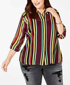 I.N.C. Plus Size Roll-Tab Button-Up Top, Created for Macy's