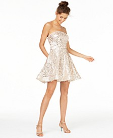 Juniors' Sequined Strapless Dress