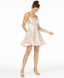 Juniors' Sequined Strapless Dress