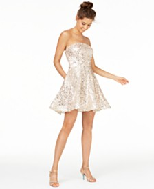 Crystal Doll Juniors' Sequined Strapless Dress