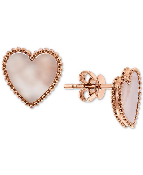 EFFY Collection EFFY® Mother-of-Pearl Heart Stud Earrings in 14k Rose Gold