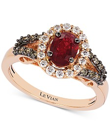 Le Vian® Passion Ruby (3/4 ct. t.w.), Vanilla Diamonds® (1/4 ct. t.w.) and Chocolate Diamonds (1/5 ct. t.w.) Statement Ring in 14k Rose Gold