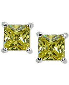Cubic Zirconia Princess Stud Earrings in Sterling Silver