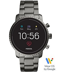 Men's Tech Explorist Gen 4 HR Smoke Stainless Steel Bracelet Touchscreen Smart Watch 45mm, Powered by Wear OS by Google™