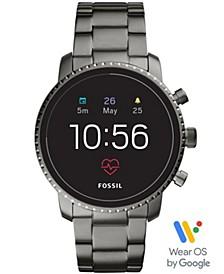Men's Tech Explorist Gen 4 HR Smoke Stainless Steel Bracelet Touchscreen Smart Watch 45mm, Powered by Wear OS by Google™