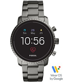 Fossil New Q Men's Explorist Gen 4 HR Smoke Stainless Steel Bracelet Touchscreen Smart Watch 45mm, Powered by Wear OS by Google™