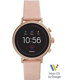 Women's Tech Venture Gen 4 HR Blush Leather Strap Touchscreen Smart Watch 40mm, Powered by Wear OS by Google™