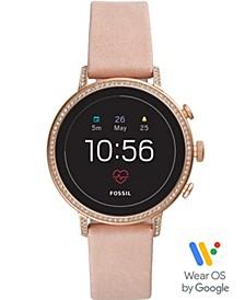 Women's Tech Venture Gen 4 HR Blush Leather Strap Touchscreen Smart Watch 40mm, Powered by Wear OS by Google™