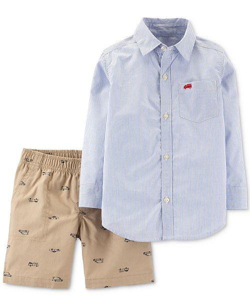 Carter's Toddler Boys 2-Pc. Cotton Striped Shirt & Vehicle-Print Shorts Set
