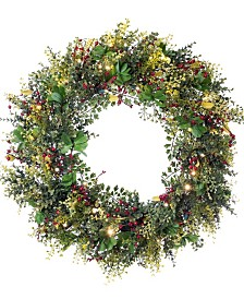 """Village Lighting 30"""" Pre-Lit LED Wreath - Christmas Boxwood and Berry"""