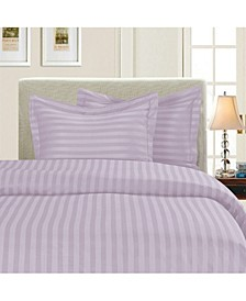 1500 Thread Count Egyptian Quality Luxurious Silky - Soft Wrinkle Free 3-Piece Stripe Duvet Cover Set, Full/Queen