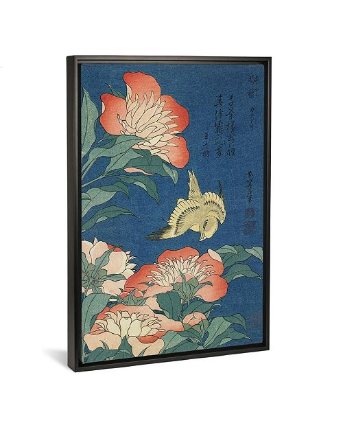 """iCanvas Peonies and Canary, C.1833 by Katsushika Hokusai Gallery-Wrapped Canvas Print - 26"""" x 18"""" x 0.75"""""""