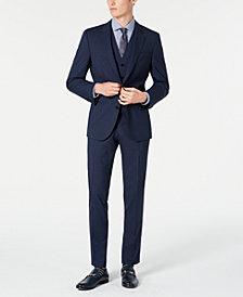 HUGO Hugo Boss Men's Slim-Fit Dark Blue Micro-Check Vested Suit Separates