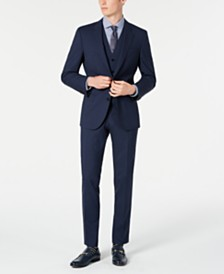 HUGO Hugo Boss Men's Slim-Fit Dark Blue Micro-Check Vested Suit Separates