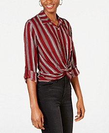 Juniors' Striped Twist-Front Button-Up Shirt