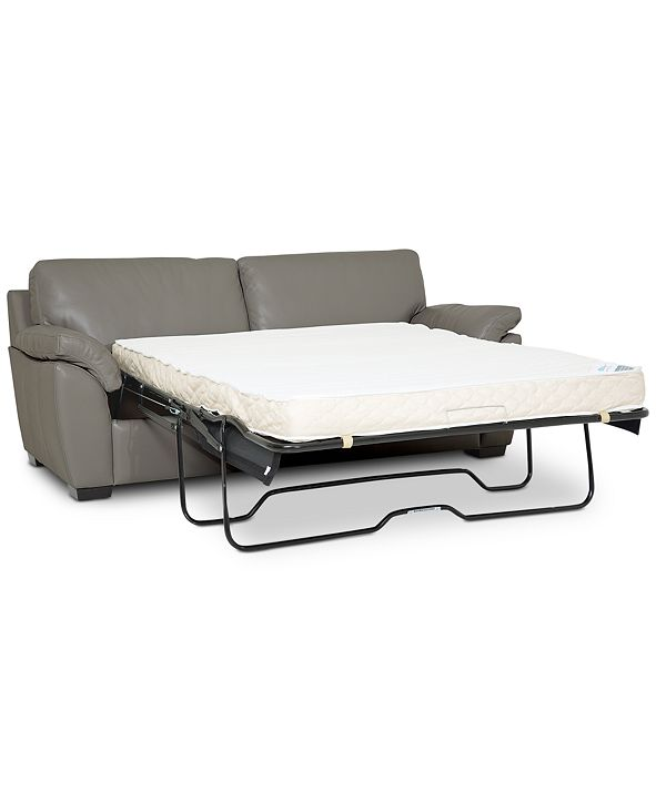 """Furniture Lothan 80"""" Leather Full Sleeper, Created for Macy's"""