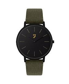 Farah Men's the Slim Jim Collection Khaki Canvas Strap Watch 42mm