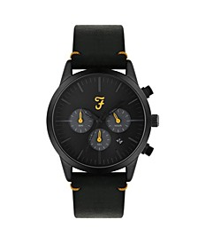 Men's the Chrono Collection Black Leather Strap Watch 42mm