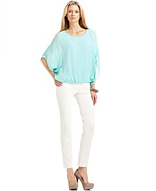 Short-Sleeve Dolman Top & Skinny Ponte-Knit Ankle Pants