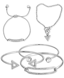 GUESS Silver-Tone 5-Pc. Set Crystal Bracelets
