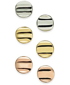 Tri-Tone 3-Pc. Set Sculpted Wave Disc Stud Earrings, Created for Macy's