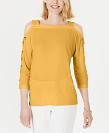 JM Collection Statement-Sleeve Cold-Shoulder Top, Created for Macy's