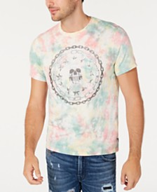 GUESS Men's Skull Graphic Tie Dye T-Shirt