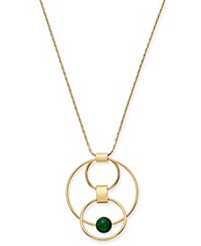 "Gold-Tone & Green Malachite Stone Orbital Pendant Necklace, 36"" + 2"" extender, Created for Macy's"