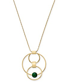 "Alfani Gold-Tone & Green Malachite Stone Orbital Pendant Necklace, 36"" + 2"" extender, Created for Macy's"