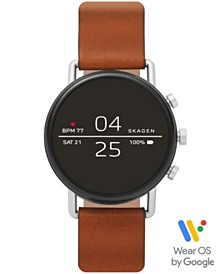 Skagen Falster 2 Brown Leather Strap Touchscreen Smart Watch 40mm, Powered by Wear OS by Google™