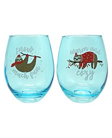 """""""Sloth Warm and Cozy"""" Set of 2, 22oz Stemless Wine Glasses"""
