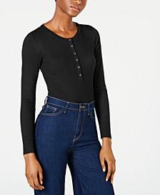 Juniors' Long-Sleeve Snap Bodysuit