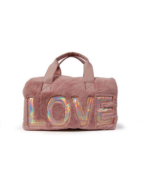 OMG! Accessories Love Faux Fur Duffle Bag