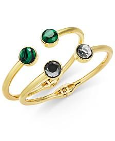 I.N.C. Gold-Tone 2-Pc. Stone Hinge Bangle Bracelets, Created for Macy's