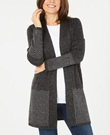 Karen Scott Open-Front Contrast-Trim Cardigan, Created for Macy's