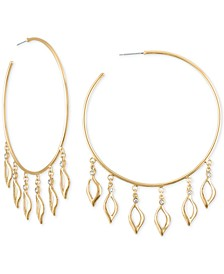 Extra Large Gold-Tone Pavé Open Leaf Hoop Earrings 3-1/4""