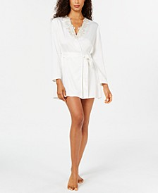 Stella Lace-Trim Wrap Robe