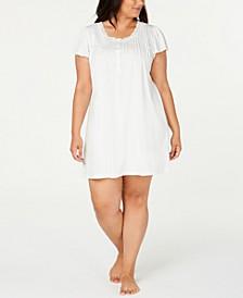 Plus Size Knit Lace-Trim Nightgown
