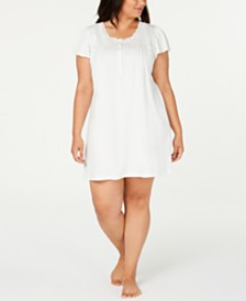 Miss Elaine Plus Size Knit Lace-Trim Nightgown
