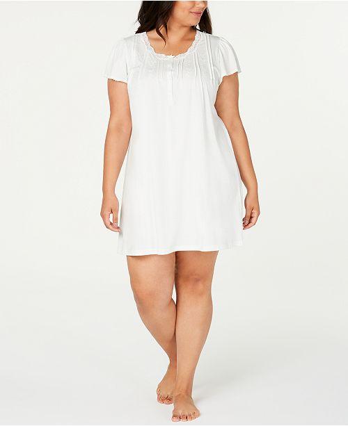Miss Elaine Plus Size Knit Lace-Trim Nightgown