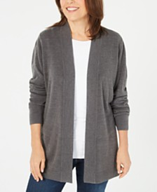 Karen Scott Open-Front Long-Sleeve Cardigan, Created for Macy's