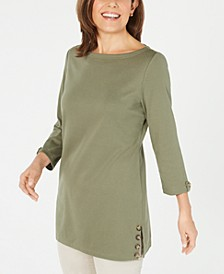 Button-Side 3/4-Sleeve Cotton Top, Created for Macy's