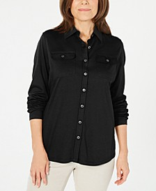 Mixed-Media Button-Front Top, Created for Macy's
