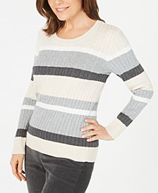 Petite Cotton Striped Cable-Knit Sweater, Created For Macy's