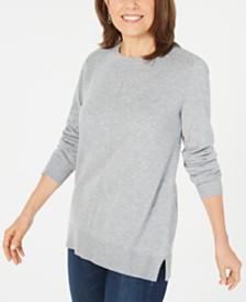 Karen Scott Crewneck Long-Sleeve Sweater, Created for Macy's