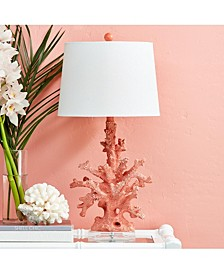 """Pink Coral Table Lamp on Acrylic Base with White Linen Shade (UL-listed parts/includes 8"""" harp and finial/uses 100W max standard bulb) - Resin/Linen/Acrylic"""