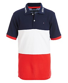 Tommy Hilfiger Big Boys Marc Colorblocked Logo-Collar Cotton Polo Shirt