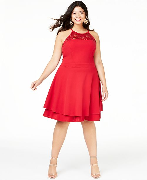 Trendy Plus Size Double-Layer Scuba Dress