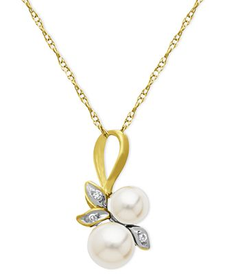 10k Gold Necklace, Cultured Freshwater Pearl and Diamond Accent Leaf Pendant