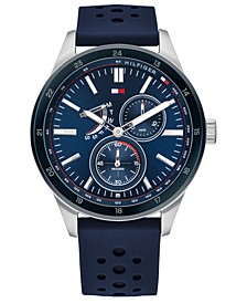 Men's Blue Leather Strap Watch 45mm, Created For Macy's